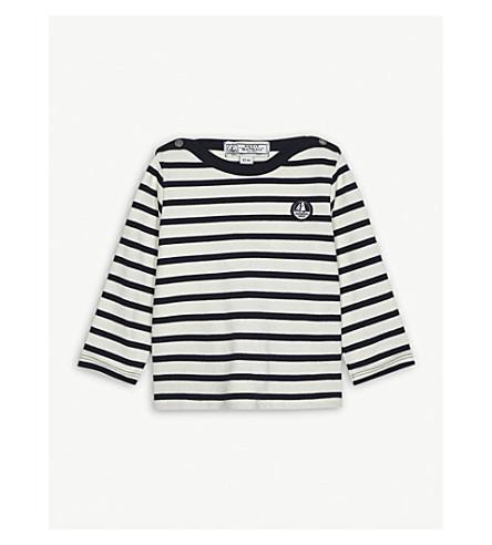 PETIT BATEAU Nautical stripe cotton top 3-24 months (Beige+and+blue