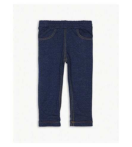 PETIT BATEAU Denim-style cotton-blend trousers 3-18 months (Beige and blue