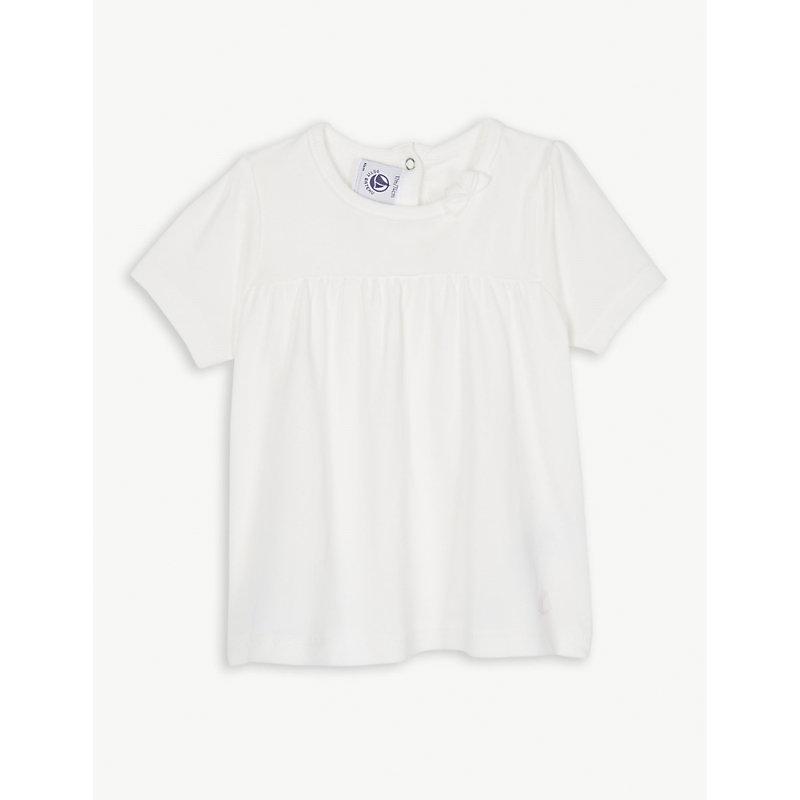 PETIT BATEAU   Bow Collar Cotton T-Shirt Dress 3-36 Months   Goxip