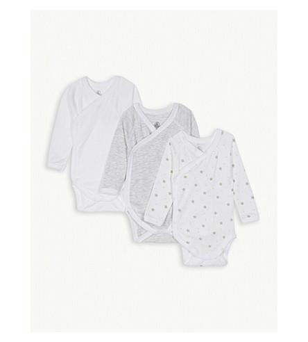 PETIT BATEAU Cotton bodysuits set of three 0-6 months (Ecume+white++grey