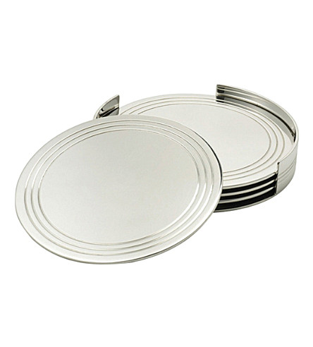 RALPH LAUREN HOME Montgomery silver-plated four piece coaster set (Silver