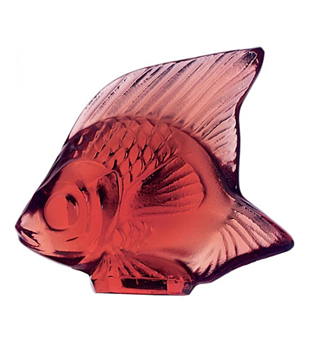 LALIQUE Glass fish ornament (Red