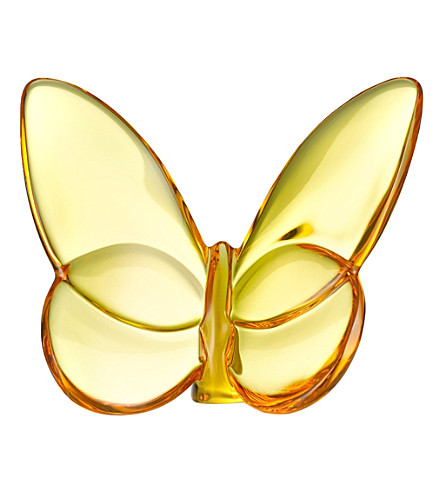 BACCARAT Yellow crystal butterfly (Amber