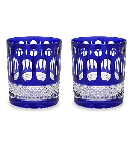 ROYAL SCOT CRYSTAL Belgravia set of two large crystal tumblers (Sapphire