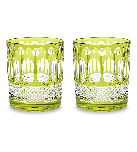 ROYAL SCOT CRYSTAL Belgravia set of two large crystal tumblers (Lime+green