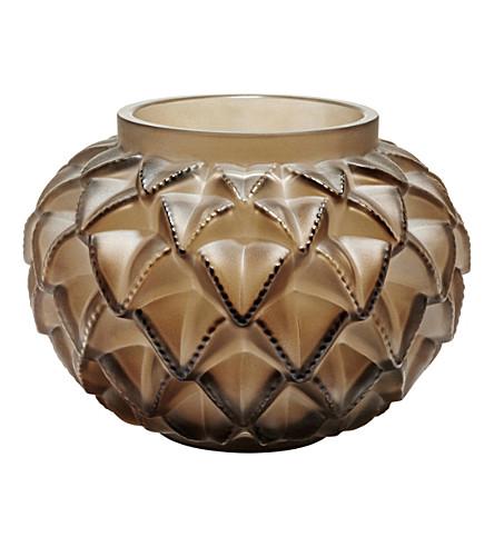 LALIQUE Languedoc bronze crystal vase (Bronze