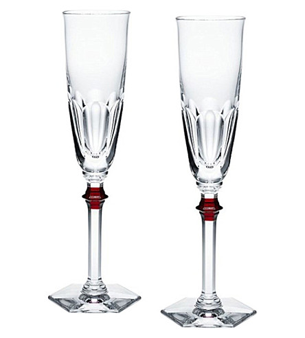 BACCARAT Set of 2 Harcourt Eve champagne flutes (Clear+and+red