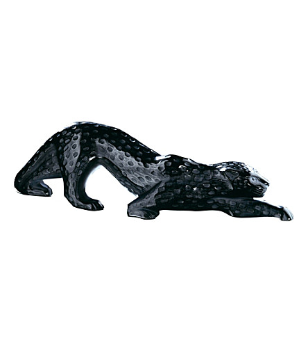 LALIQUE Zelia crystal large panther ornament (Black
