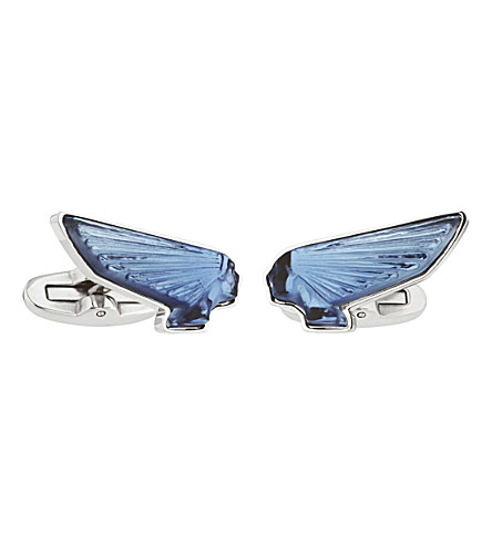 LALIQUE Victoire Mascots blue cufflinks (Blue,+stainless