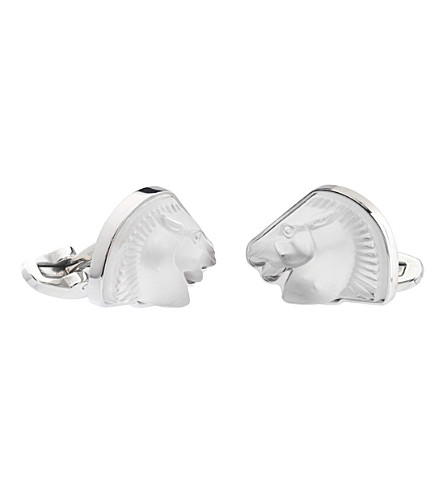 LALIQUE Cheval Mascots clear cufflinks (Clear,+stainless