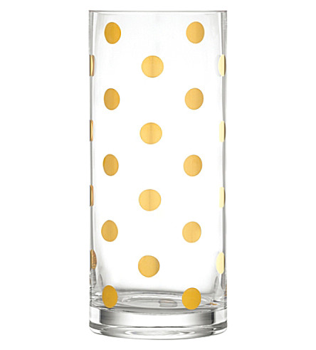KATE SPADE Pearl Place crystal vase 25cm (Clear+with+gold+dots
