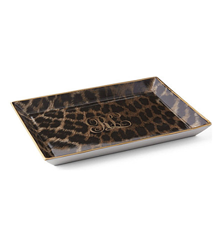 RALPH LAUREN HOME Hutchinson leopard-print porcelain and 24ct gold trinket tray