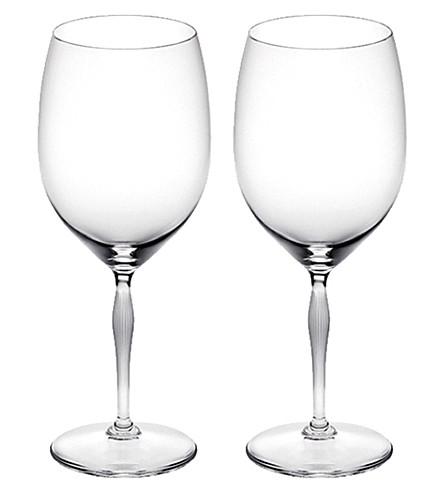 LALIQUE Pair of bordeaux glasses, lalique