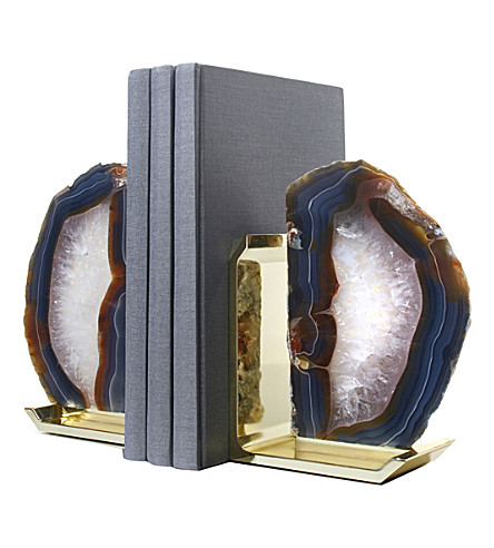 ANNA NY BY RABLABS Natural Agate and Gold bookends