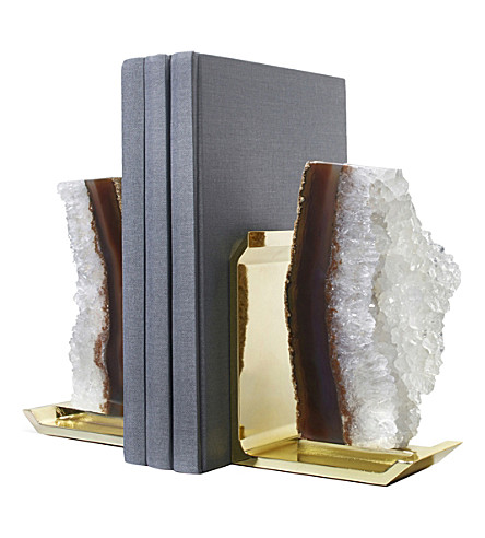 ANNA NY BY RABLABS Natural Druze Gold bookends