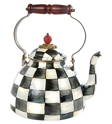 MACKENZIE CHILDS Courtly Check enamel tea kettle