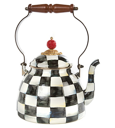 MACKENZIE CHILDS Courtly Check enamel tea kettle