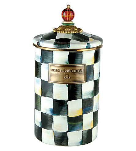 MACKENZIE CHILDS Courtly Check ceramic large canister