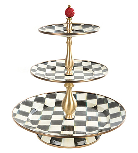 MACKENZIE CHILDS Courtly Check enamel 3-tier sweet stand