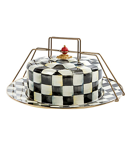 MACKENZIE CHILDS Courtly Check enamel cake carrier