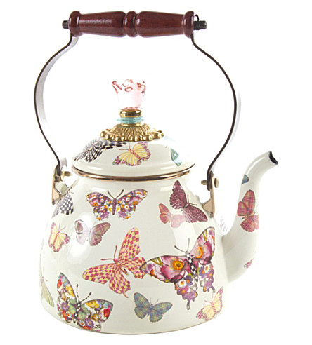 MACKENZIE CHILDS Butterfly Garden enamel tea kettle 2qt