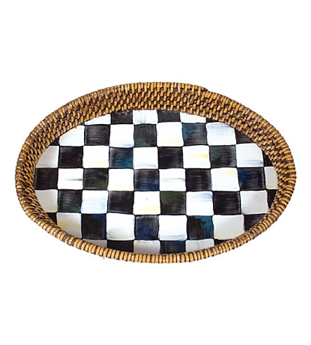 MACKENZIE CHILDS Courtly check steel and rattan small tray 28x20cm