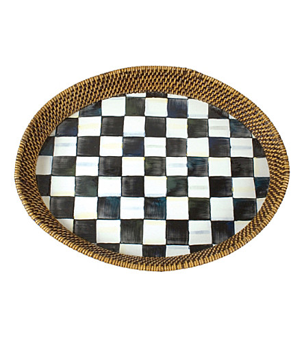 MACKENZIE CHILDS Courtly check steel and rattan large tray