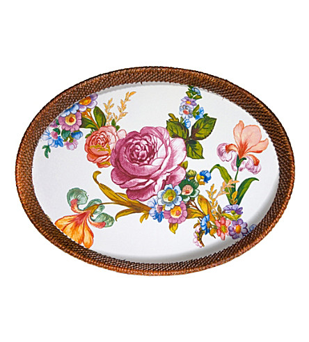 MACKENZIE CHILDS Flower market steel and rattan tray 38x28cm