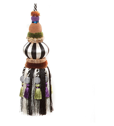 MACKENZIE CHILDS Bibelot black and white tassel