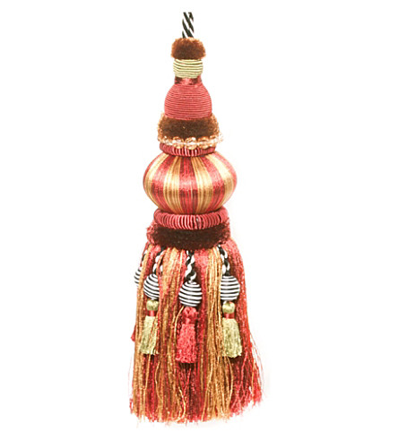 MACKENZIE CHILDS Bibelot red and gold tassel