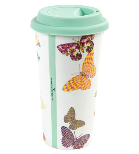 MACKENZIE CHILDS Butterfly Garden porcelain travel cup