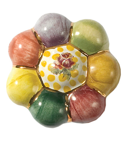 MACKENZIE CHILDS Rosie posie ceramic flower knob