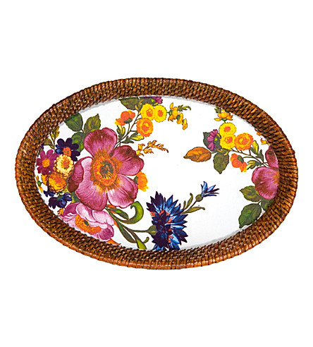 MACKENZIE CHILDS Flower Market steel and rattan party tray