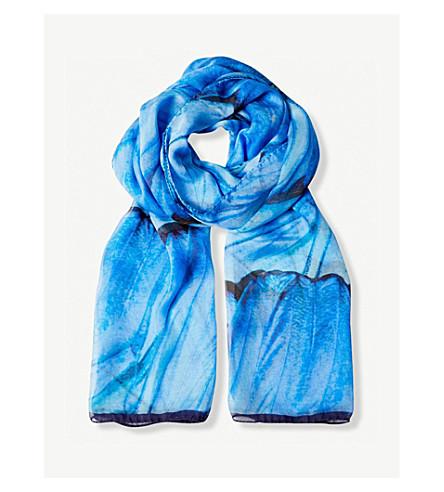 BEATRICE JENKINS Blue Morpho silk scarf