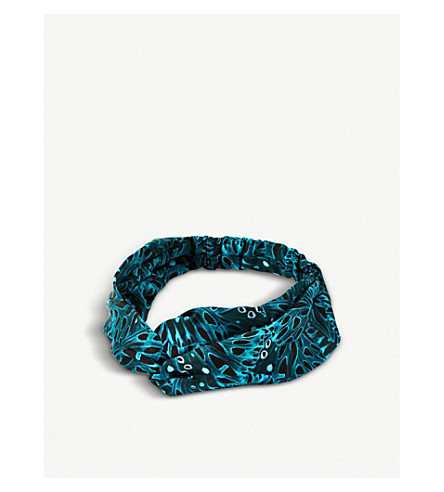BEATRICE JENKINS Butterfly-print silk-twill headband