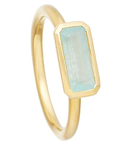 ASTLEY CLARKE 18ct gold vermeil milky aqua quartz ring