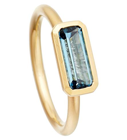 ASTLEY CLARKE 18ct gold vermeil london blue topaz ring