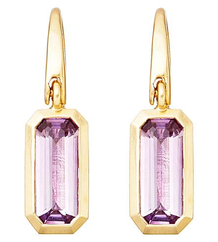 ASTLEY CLARKE 18ct gold vermeil amethyst drop earrings