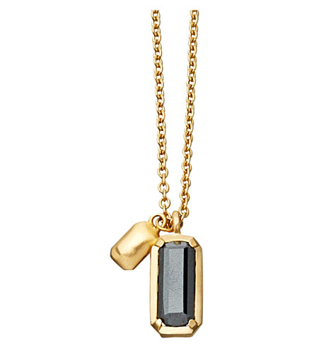 ASTLEY CLARKE Prismic 18-carat yellow gold-plated and hematite pendant necklace