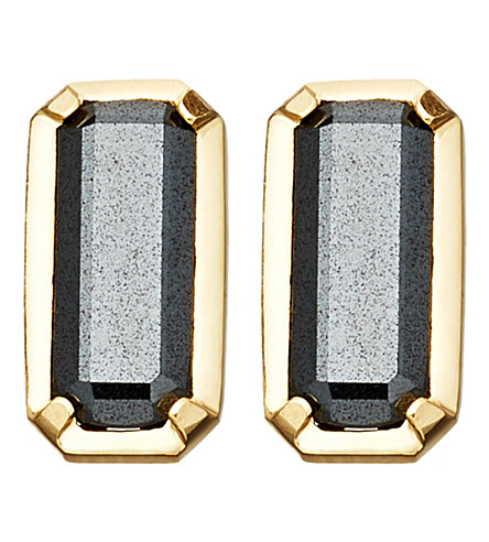 ASTLEY CLARKE Prismic 18ct yellow gold-plated and hematite stud earrings