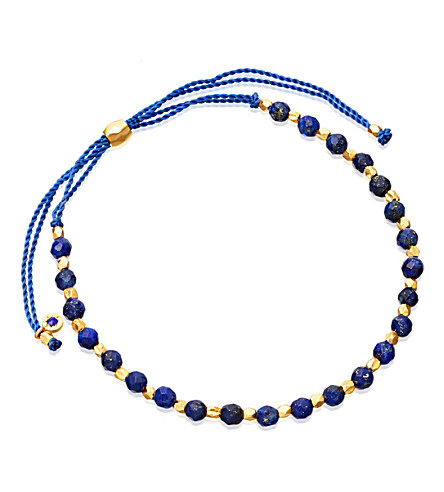 ASTLEY CLARKE Lapis and 18ct yellow gold-plated skinny biography bracelet