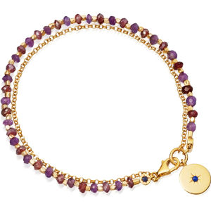 Amethyst and 18ct yellow gold-plated biography bracelet