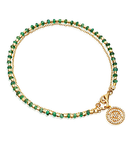 ASTLEY CLARKE Emerald Aura 14ct gold, emerald and diamond bracelet
