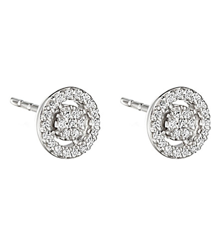 ASTLEY CLARKE Mini Icon Aura 14ct white gold and diamond stud earrings
