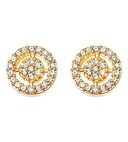 ASTLEY CLARKE Mini icon aura 14ct yellow gold and diamond stud earrings