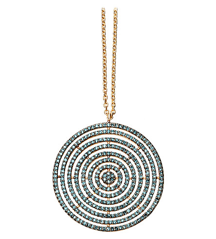 ASTLEY CLARKE Large Icon Aura 14ct yellow-gold and blue diamond pendant necklace