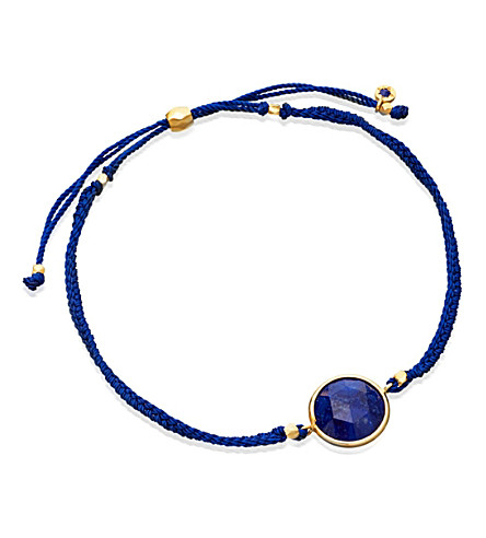 ASTLEY CLARKE Lapis Polka 18ct yellow gold-plated bracelet