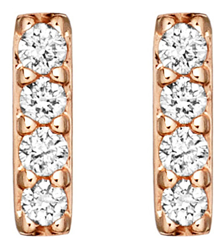 ASTLEY CLARKE 14ct rose gold and diamond Linia Halo stud earrings