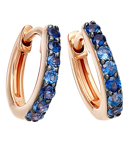 ASTLEY CLARKE Mini Halo 14ct rose-gold blue sapphire hoop earrings (Rose+gold