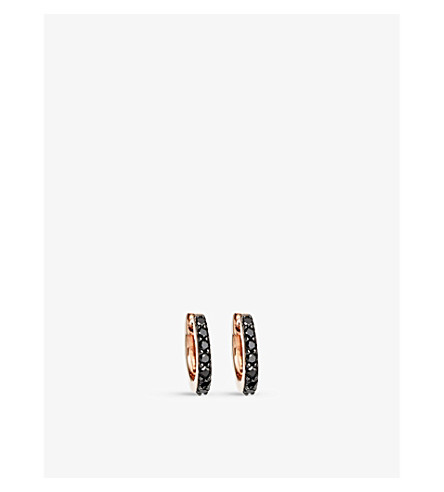 ASTLEY CLARKE Mini Halo 14ct rose-gold and black diamond hoop earrings